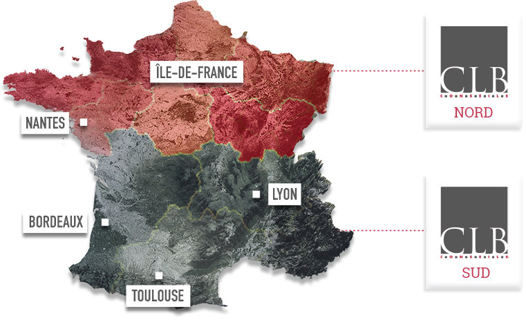 Carte de France : CLB Nord et CLB Grand Sud